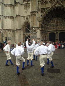 Recent fieldwork: In De Kring from Dunkerque dance in front of the Antwerp Cathedral. March 2015